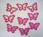 "9 pc Shiny Deep Pink Butterfly Embroidered Applique Patches Iron on 1-1/2"" PH53"