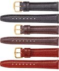 New Men's Long Semi Padded Textured Calf Leather Watch Strap Band