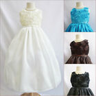Gorgeous Ivory Black Brown Turquoise wedding flower girl party dress all sizes
