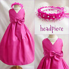 Lovely Fuchsia pink Pageant Flower girl dress size 18-24MO 2 4 6 8 10 12 14