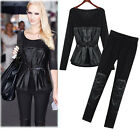 New Suit women's big code lace long sleeve blouse splice leather casual pants