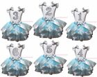 Birthday 1ST  2ND 3RD White Top Snowflakes Blue Silver Satin Trim Skirt NB-8Y