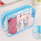 Clear Transparent Plastic PVC Travel Makeup Cosmetic Toiletry Zip Bag Pouch UKFO