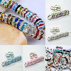 50Pcs Multiple Colour Silver Plated Czech Crystal Spacer Beads DIY Makeing 8mm