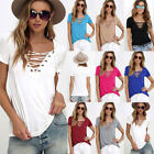 Summer Womens Sexy V Neck Lace UP T-Shirt Short Sleeve Loose Tops Casual Blouse