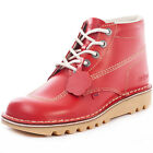 Kickers Kick Hi Womens Leather Red Ankle Boots New Shoes All Sizes