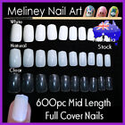 100/600pc Mid Length Full Cover Square Short False Fake Nail Tips Gel Acrylic