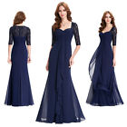 Half Sleeve Chiffon Lace Bridesmaid Prom Long Maxi Dress Evening Party Ball Gown