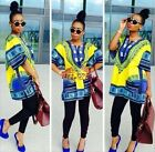 Yellow African Shirt Dashiki Print Men Women Hippie BOHO Top DRESS Blouse Tribal