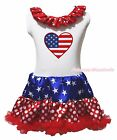 4th July America Flag Heart White One Piece Girls Star Dots Dress Skirt NB-8Year