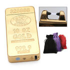 Personalised Rechargeable USB Arc Lighter Gold Coloured Windproof Smokers Gift