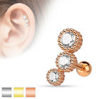 Gems Triple Round Tragus Cartilage Upper Ear Piercing Stud Top Earring 16ga