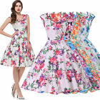 Spring Vintage 1950s 60s Red Blue Floral Retro Evening Party Dress UK