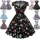 Vintage Women's Retro Style 50s Summer Floral Evening Party Dress Swing Pinup