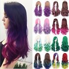 Hot Women Cosplay Mermaid Wavy Wigs Long Curly Ombre Wig Col