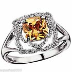 Sterling Silver Fancy Peach Cubic Zirconia Solitaire Ring Avon