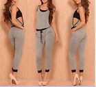 Casual Fashion Sexy Women Jumpsuit Gray one piece sleeveless long playsuit Sport