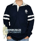 LONG SLEEVE COTTON RUGBY SHIRT..SCOTLAND 2 STRIPE & THISTLE DESIGN..NAVY..SIZES!