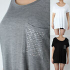 IUILE Women's Plus Size Loose Fit Silver Studded Front Pocket Tops 1XL - 3XL