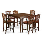 CHEL7-MAH 7 Piece pub height Set- Square Counter Height Table with 6 Stools