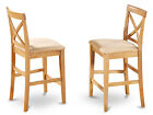 Set of 2 X-Back stools for kitchen dining room in Oak finish