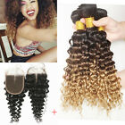 3 Bundles Deep Wave Human Hair ombre Weft with 1pc Deep Curly Lace Closure