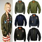 Kids Girls Boys Plain MA1 US Air Pilot Zip Up Biker Bomber Padded Jacket Coat