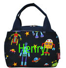 Personalized Monogram Space Funny Robot  Insulated Cooler Thermal Tote Lunch Bag