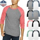 Mens TRI BLEND RAGLAN T Shirts 3/4 Sleeve Baseball Tee Slim Fit Super Soft