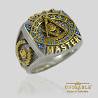 PAST MASTER MASONIC STERLING SILVER 925 MASON 18K GOLD PLD FREEMASON RING