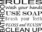 America Home Decor BATHROOM RULES SUBWAY ART WORDS WALL DECAL QUOTE VINYL LETTERING