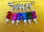 Set-6x Stitch Markers-Knitting-Crochet-Lobster Claw-Jump ring-7mm-Crackle Glass