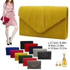 Womens Ladies Pleated Suede velvet Clutch Bag Handbag Bridal Evening Prom Party