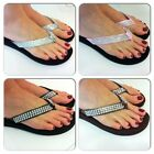 FLIP FLOPS CRYSTAL BLING BLACK FLAT WOMENS LADIES GIRLS SANDALS RHINESTONE LOOK