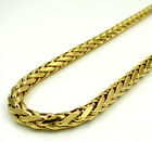 """18-36"""" 5mm 14k Yellow Real Gold Franco Wheat Italy Twist Chain Necklace Mens"""