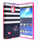 Navy Stripes with Hot Pink Slim Hybrid Cover Case Samsung Galaxy Note 3 N9000