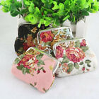Women Mini Flower Hasp Canvas Clutch Small Coin Change Purse Small Wallet Bags