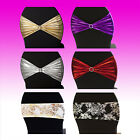 New Lycra Metallic Spandex Chair Cover Bands Sashes Wedding Event Stretch