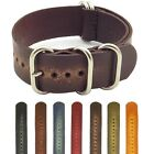 StrapsCo Vintage Distressed Faded Leather Strap Mens Watch Band