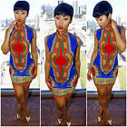 High Collar Traditional African Print Dashiki Bodycon Party Mini Dress Vintage