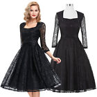 New Womens LACE Vintage Retro Pinup Dress Evening Cocktail Party Ball Gown Dress
