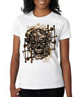 Skull Gears Steampunk Machine Cyborg Skull Machine Gears Ladies T-Shirt S-2XL