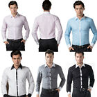 New Men's Luxury Casual Dress Shirts Tops Slim Fit Long Sleeve Wedding T Shirts