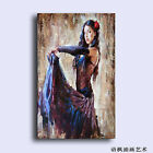 Hand Painted Oil Painting Art On Canvas beautiful young girl dancer in nice dres