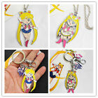 Quality Sailor Moon Usagi Baked Enamel Necklace Pendant Key Ring Chain Cosplay