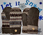 HANDMADE 100% WOOL recycled sweater MITTENS, Fleece Lined, Fair Isle  UNISEX s L