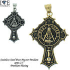 STAINLESS STEEL MASONIC PAST MASTER CROSS PENDANT W/ ROLO BOX CHAIN STP#CROSSPM