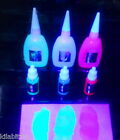 Invisible fluorescent ink, security, bodyart, painting. Glows in UV blacklight