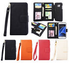 New Leather Multi Function Wallet Pocket Zipper Flip Case Cover for Samsung S7