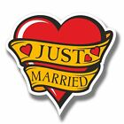 2 x Just Married Wedding Vinyl Sticker Laptop Travel Luggage #4083